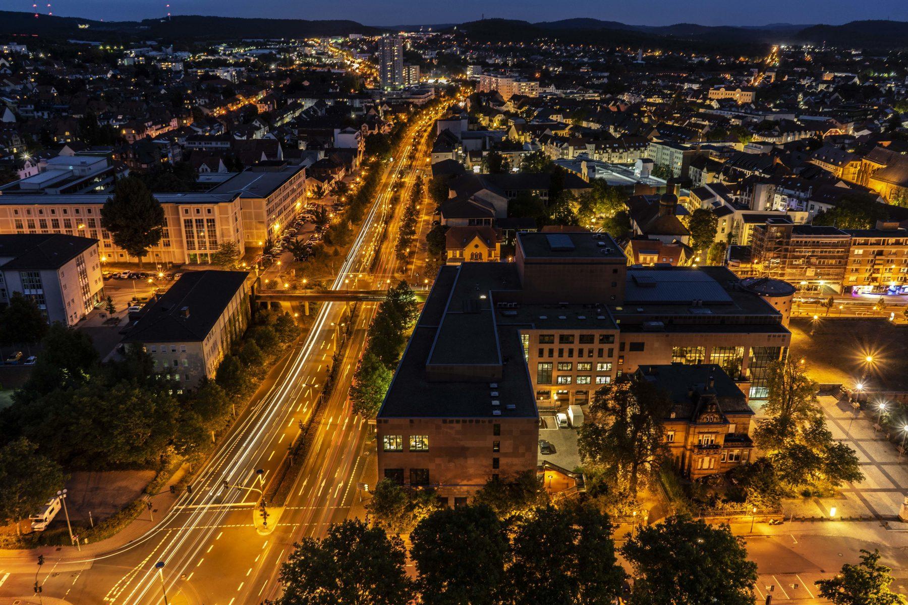 night shot long exposure of kaiserslautern city germany